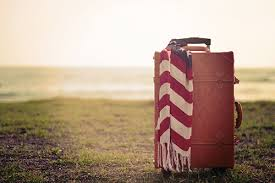 草原にスーツケース